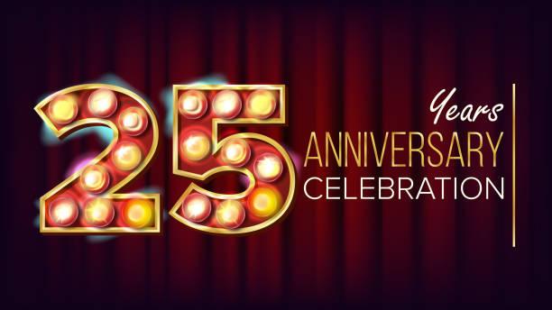 bildbanksillustrationer, clip art samt tecknat material och ikoner med 25 års jubileum banner vektor. tjugofem, tjugofemte firande. lysande ljus skylt nummer. för traditionella företag födelsedag design. moderna röd bakgrund illustration - 25 29 år