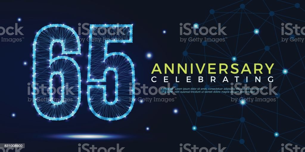 65 years anniversary celebrating numbers vector abstract polygonal silhouette. 65th anniversary concept. vector illustration vector art illustration