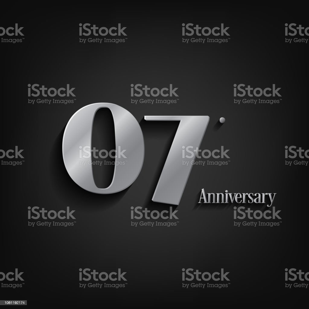 7 years anniversary  celebration. Anniversary logo elegance number and 3D style color and shadow isolated on black background, vector design for celebration, invitation card, and greeting card vector art illustration