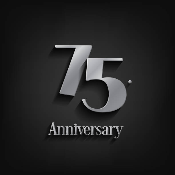 75 years anniversary  celebration. Anniversary logo elegance number and 3D style color and shadow isolated on black background, vector design for celebration, invitation card, and greeting card vector art illustration