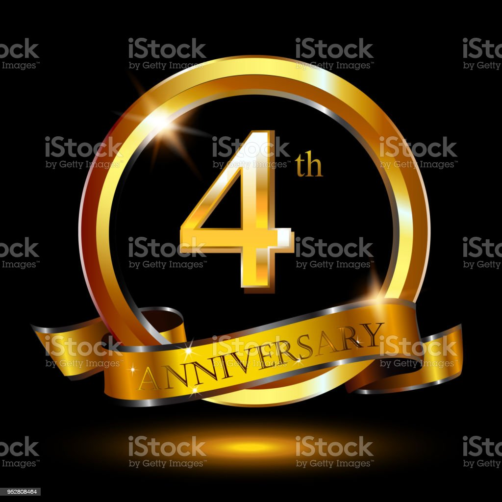 4 years anniversary celebration. Anniversary logo with ring and elegance golden color isolated on black background, vector design for celebration, invitation card, and greeting card vector art illustration