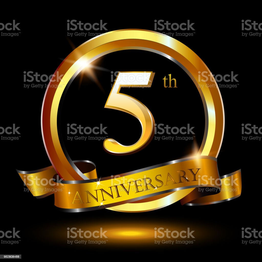 5 Years Anniversary Celebration Anniversary Logo With Ring And