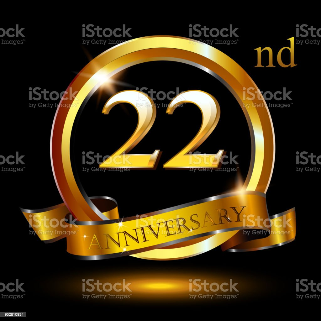 22 years anniversary celebration anniversary logo with ring and