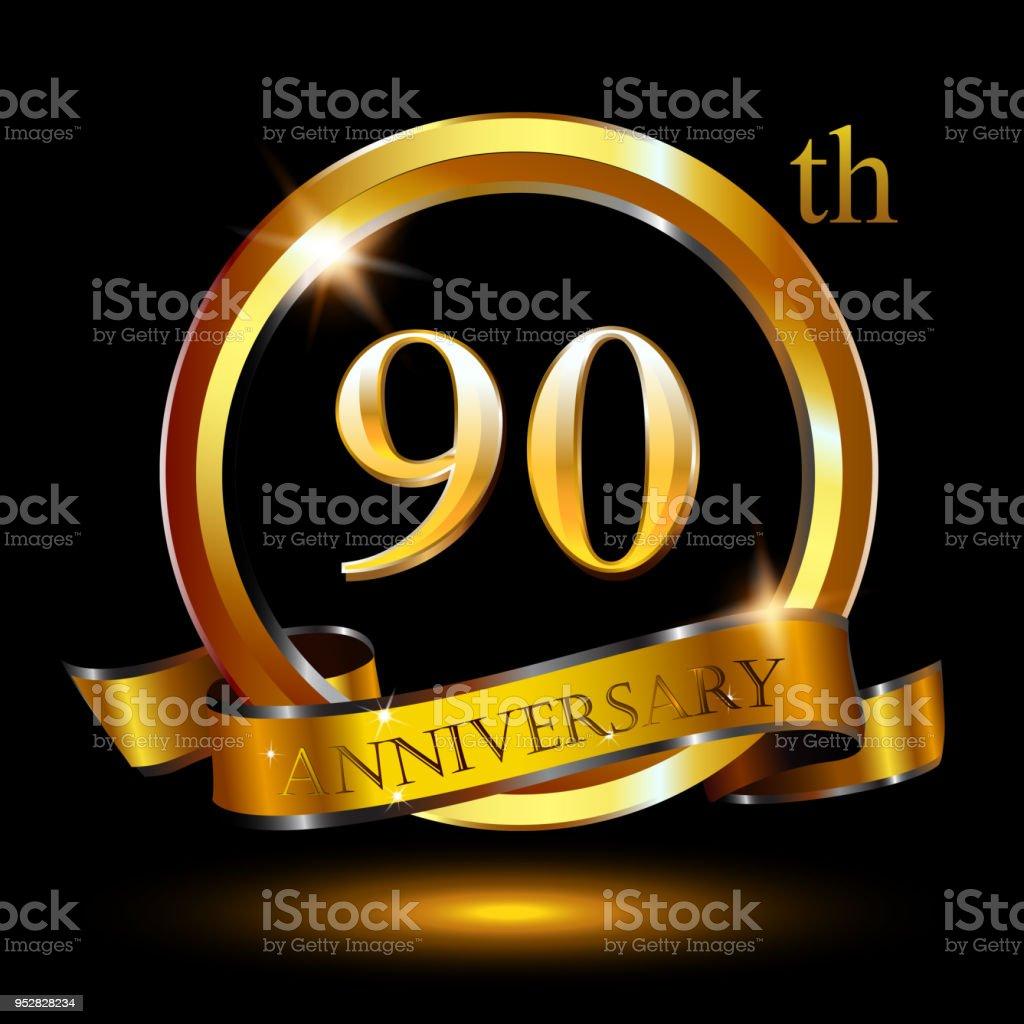 Wonderbaar 90 Jaar Jubileum Viering Verjaardagslogo Met Ring En Elegantie LE-07