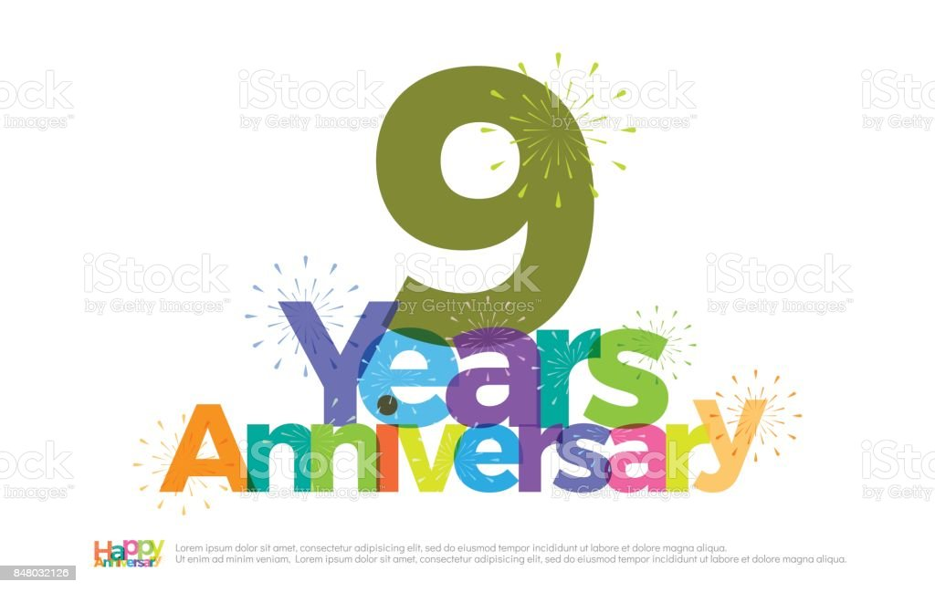 9 Years Anniversary Celebration Colorful Logo With