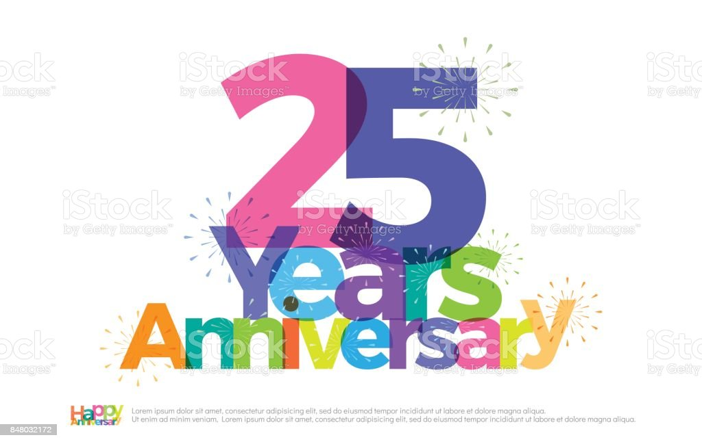 25 Jaar Verjaardag Viering Kleurrijke Logo Met Vuurwerk Op Witte