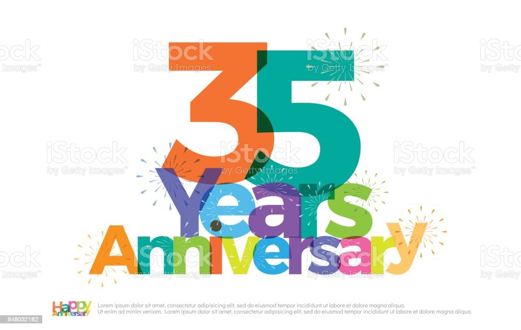35 Years Anniversary Celebration Colorful Logo With Fireworks On