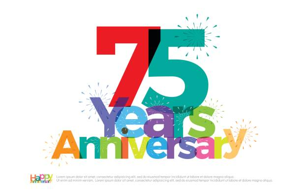 75 years anniversary celebration colorful logo with fireworks on white background. 75th anniversary logotype template design for banner, poster, card vector illustrator vector art illustration