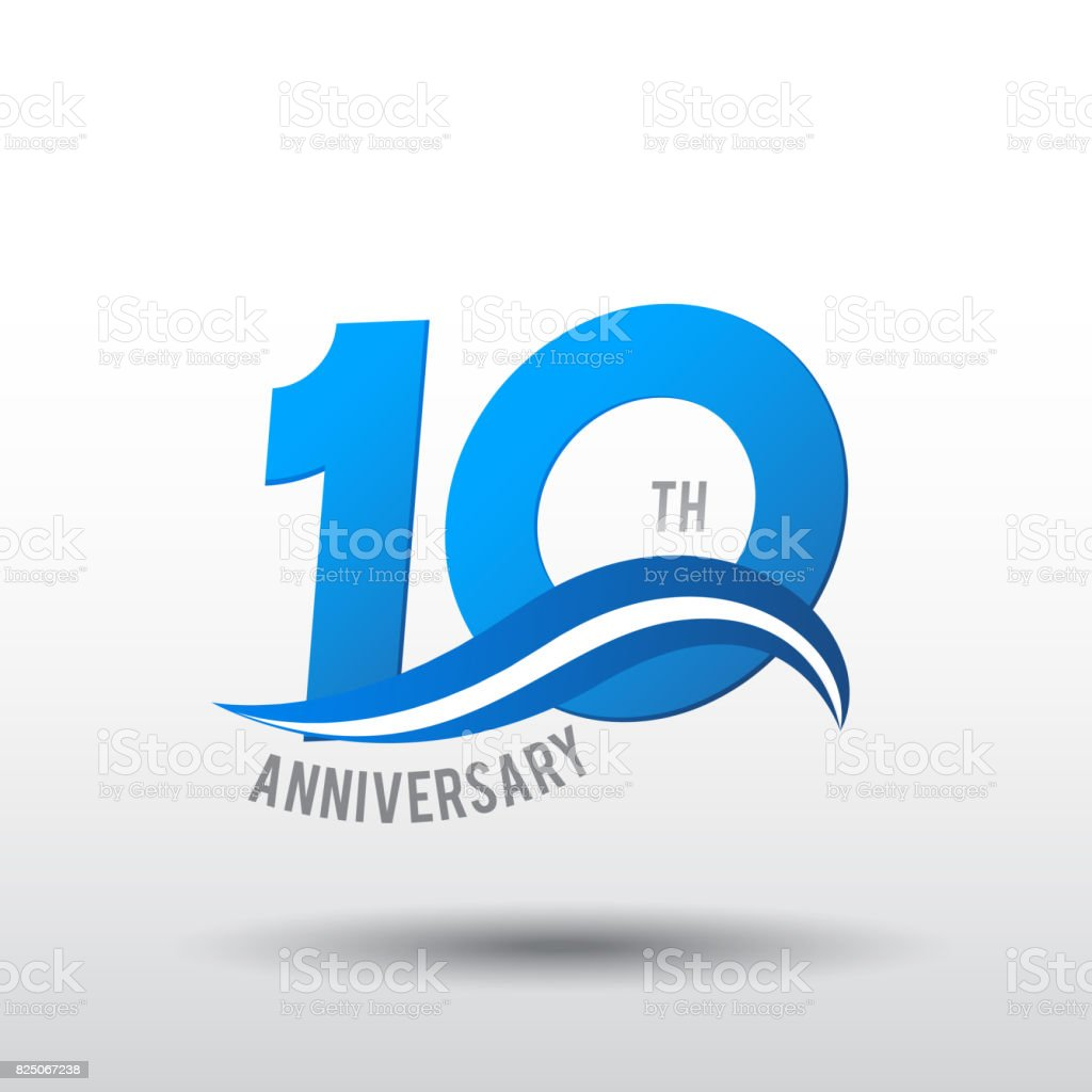 10 Years Anniversary Celebration Design icon vector art illustration