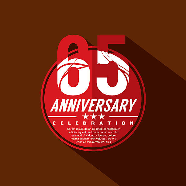 65 Years Anniversary Celebration Design. vector art illustration