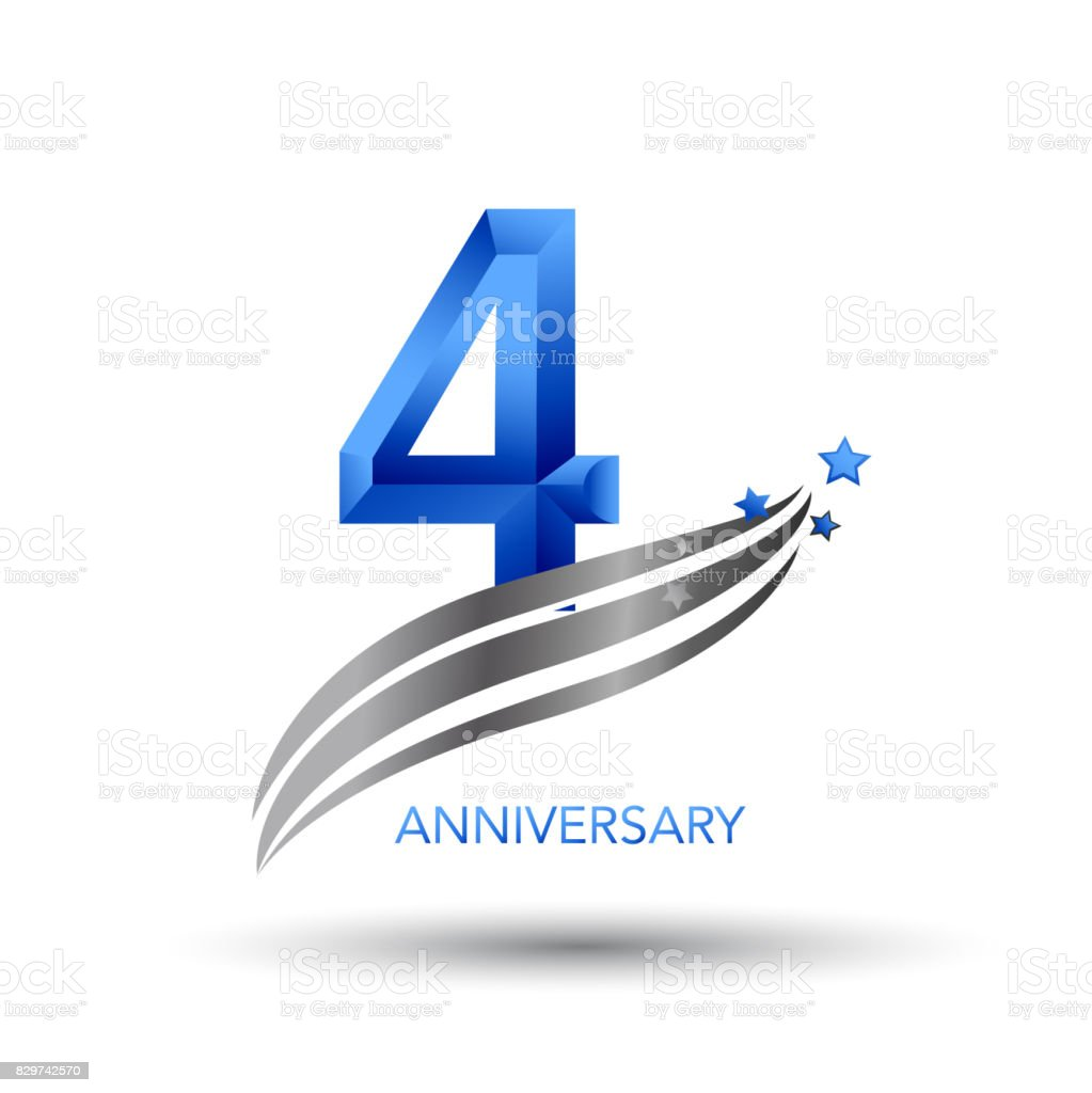 4 Years Anniversary Celebration Design vector art illustration