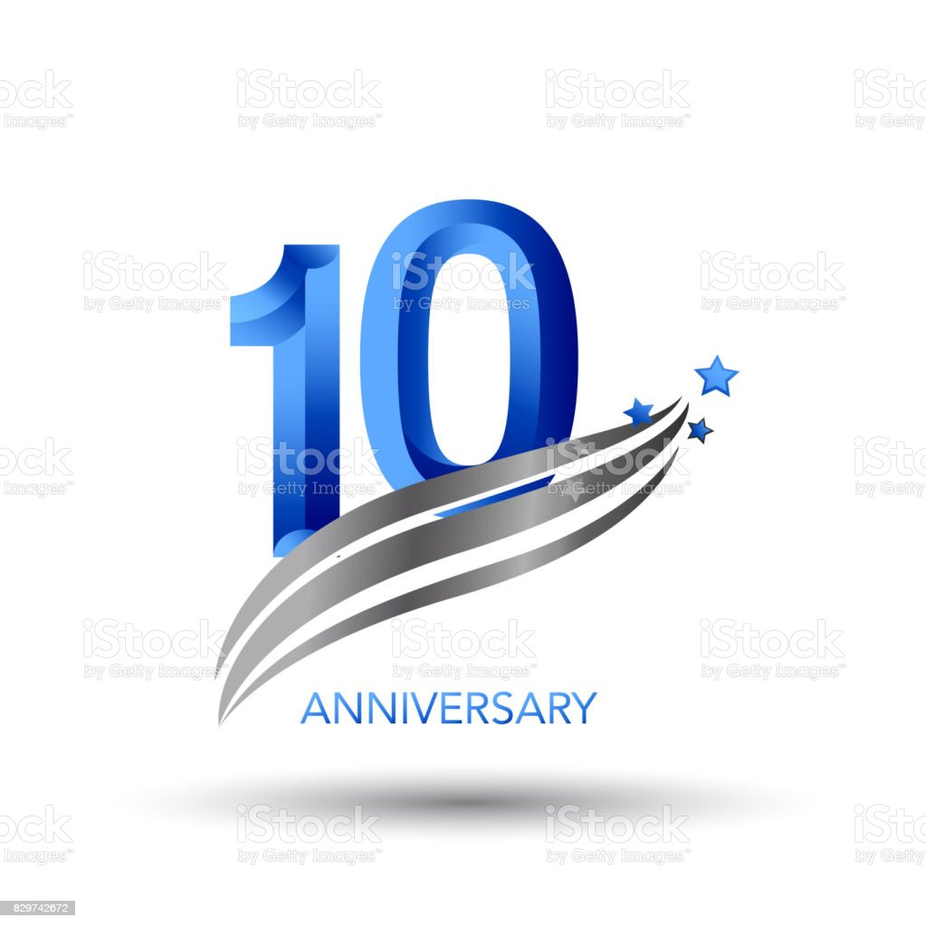 10 Years Anniversary Celebration Design vector art illustration