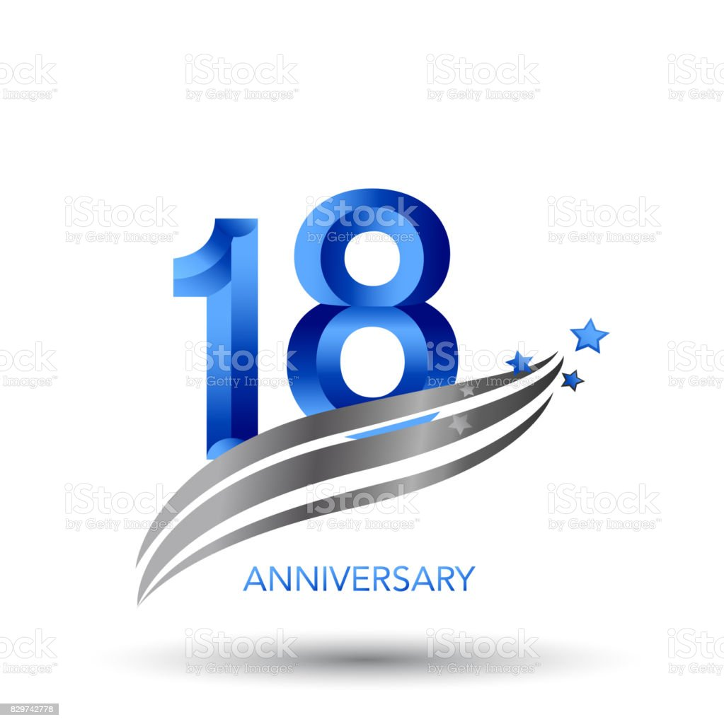 18 Years Anniversary Celebration Design vector art illustration
