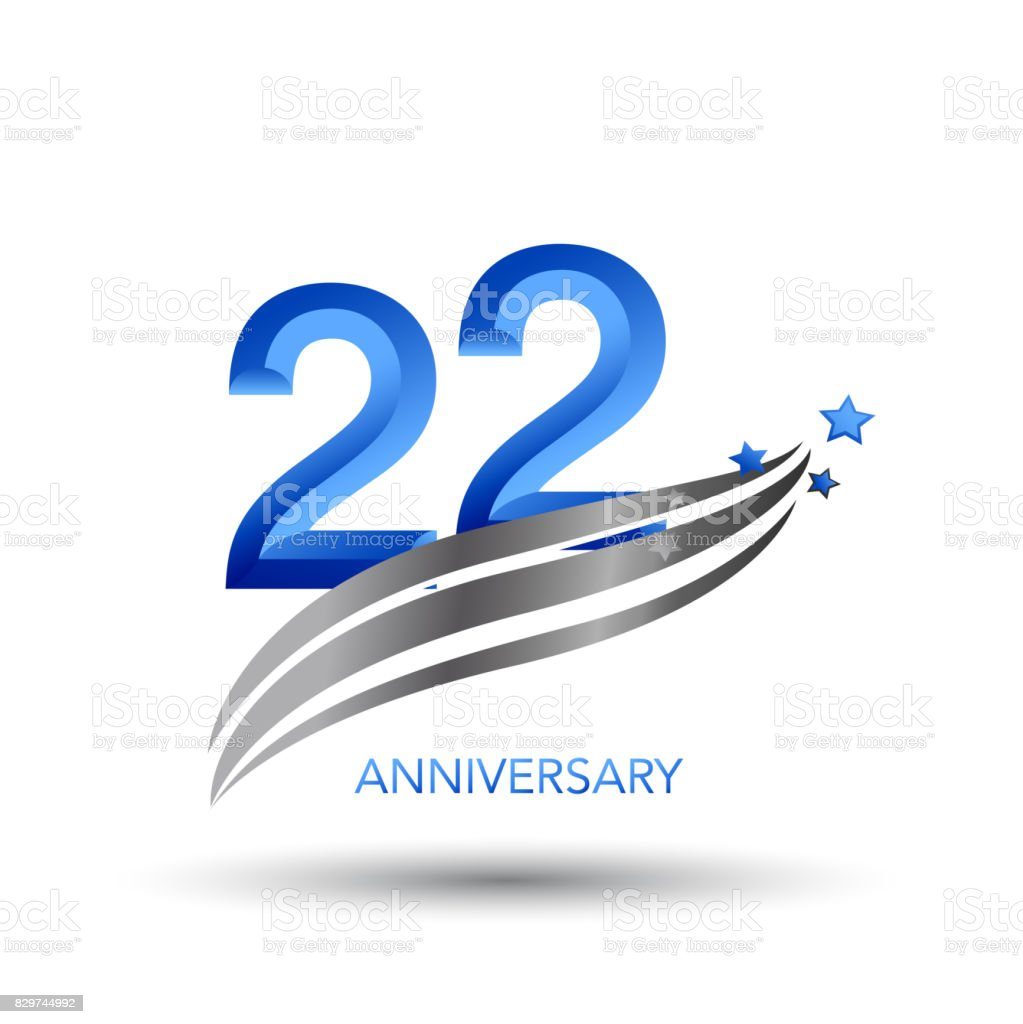 22 Years Anniversary Celebration Design vector art illustration