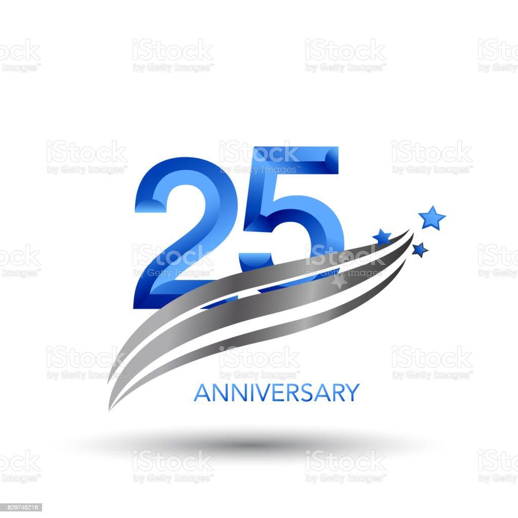 25 Years Anniversary Celebration Design vector art illustration