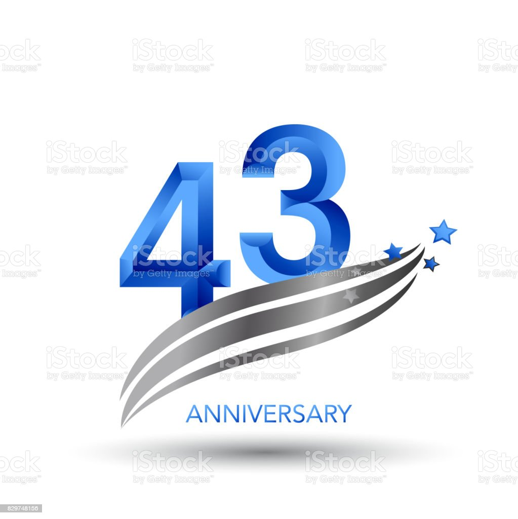 43 Years Anniversary Celebration Design vector art illustration