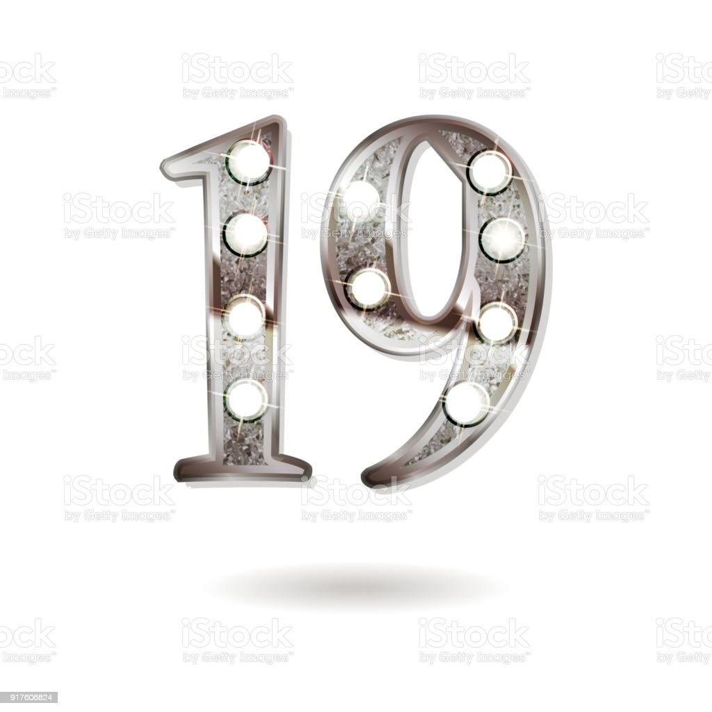 19 Jaar Verjaardag Viering Ontwerp Stockvectorkunst En Meer Beelden