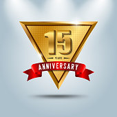 15 years anniversary celebration emblem. Golden anniversary emblem with red ribbon. Design for booklet, leaflet, magazine, brochure, poster, web, invitation or greeting card.