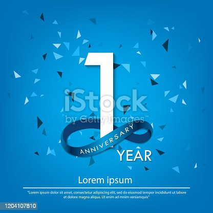 istock 1 years anniversary celebration emblem. white anniversary logo isolated with blue circle ribbon. vector illustration template design for web, poster, flyers, greeting card and invitation card 1204107810