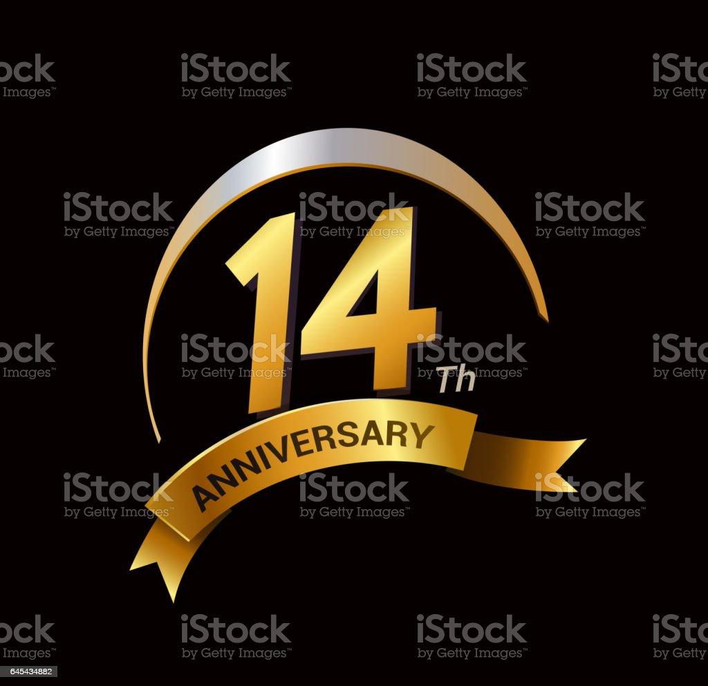 14 Years Anniversary Celebration Logo Design Stock Vector Art More