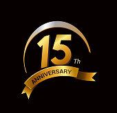 15 years anniversary. celebration logo design