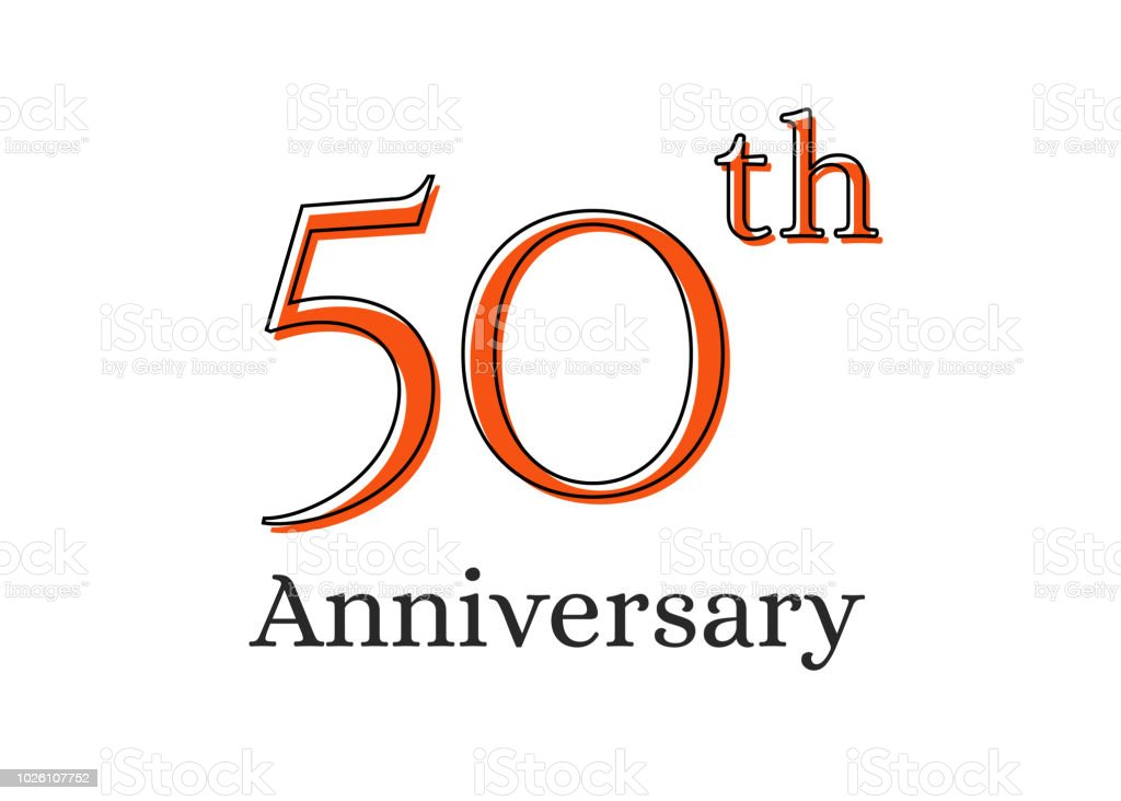 50 years anniversary celebration logo. Happy birthday design of 50th years vector art illustration