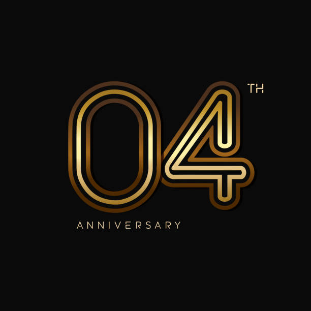 4 years anniversary celebration logotype. anniversary logo with golden and silver color isolated on black background, vector design for celebration, invitation card, and greeting card vector art illustration
