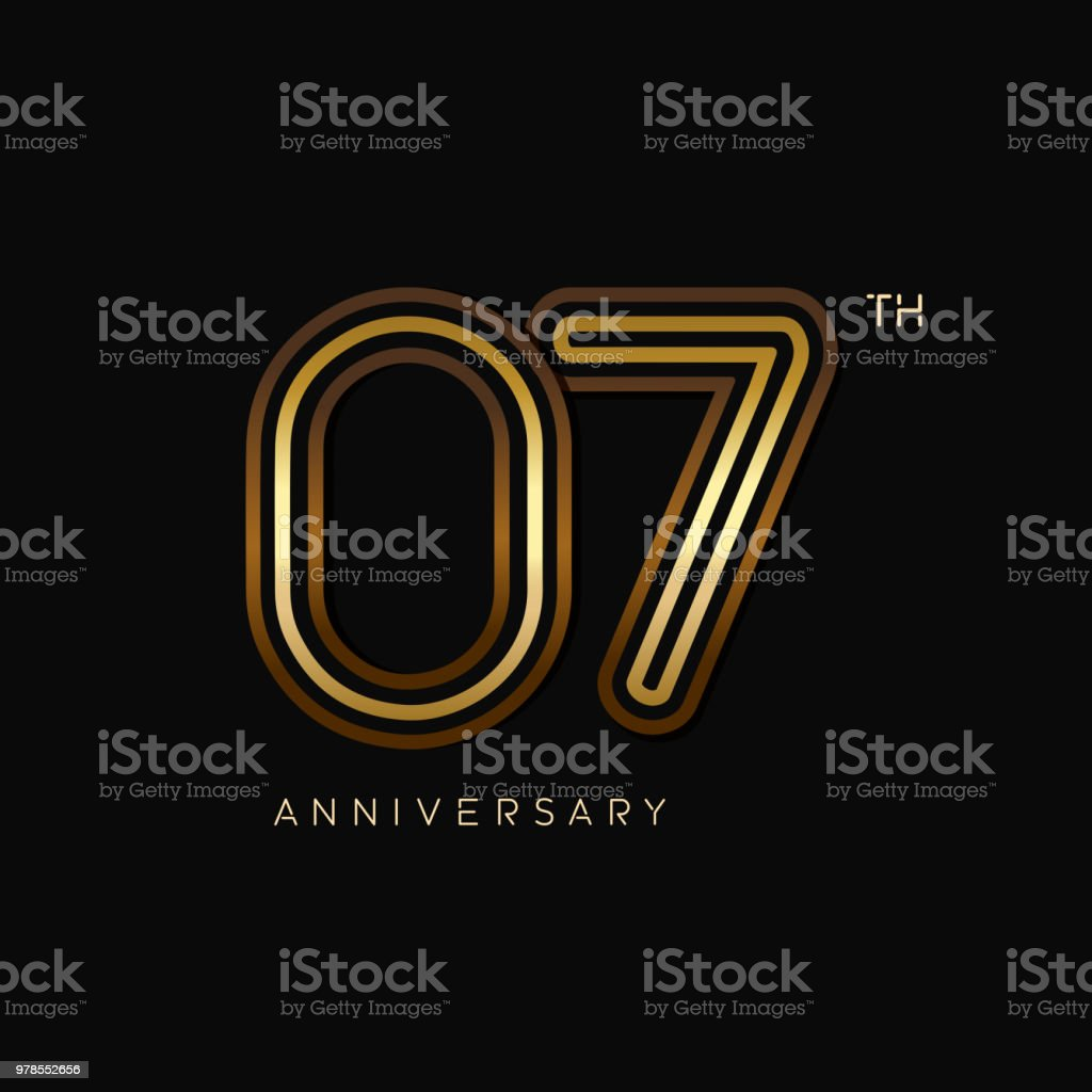 7 years anniversary celebration logotype. anniversary logo with golden and silver color isolated on black background, vector design for celebration, invitation card, and greeting card vector art illustration
