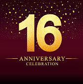 16 years anniversary celebration logotype. Anniversary logo with golden on dark pink