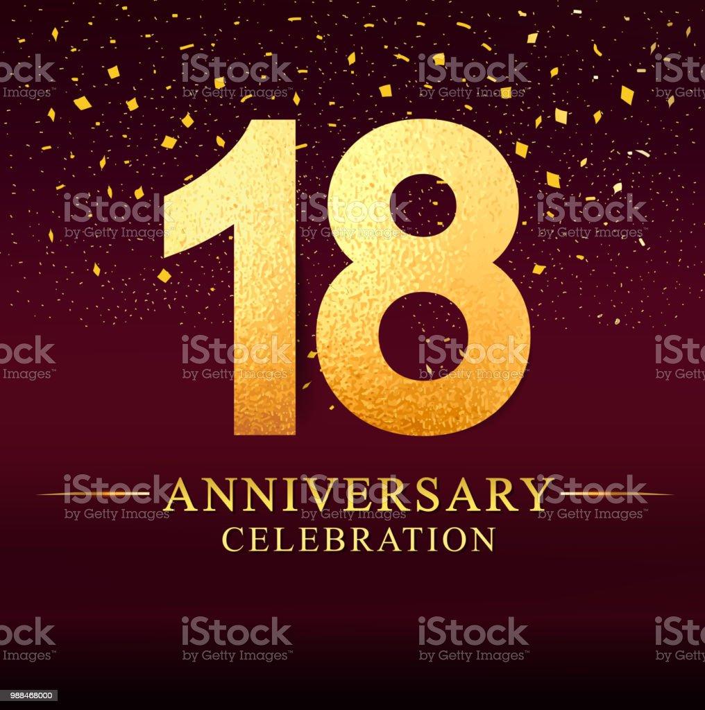 18 years anniversary celebration logotype. Anniversary logo with golden on dark pink