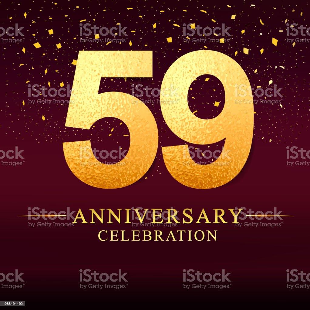 59 Jaar Verjaardag Viering Logo Verjaardagslogo Met Gouden Op Donker