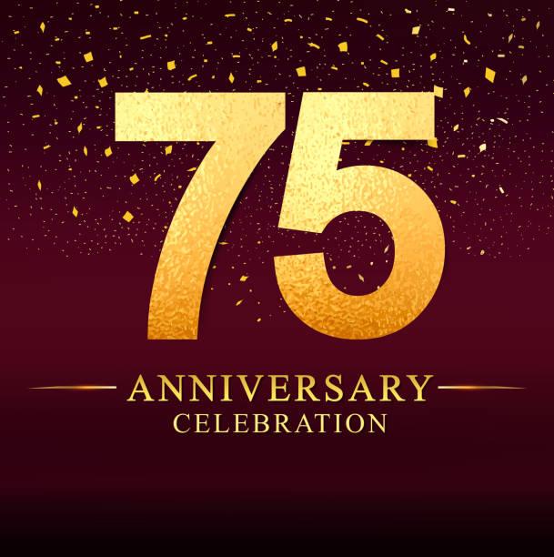 75 years anniversary celebration logotype. Anniversary logo with golden on dark pink vector art illustration