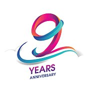 9 years anniversary celebration logotype blue and red colored.