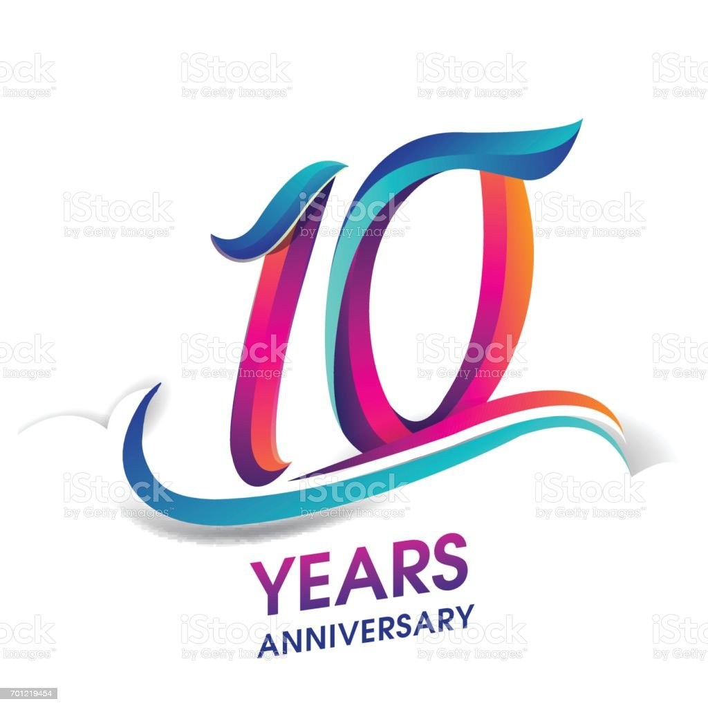 10 years anniversary celebration logotype blue and red colored. vector art illustration