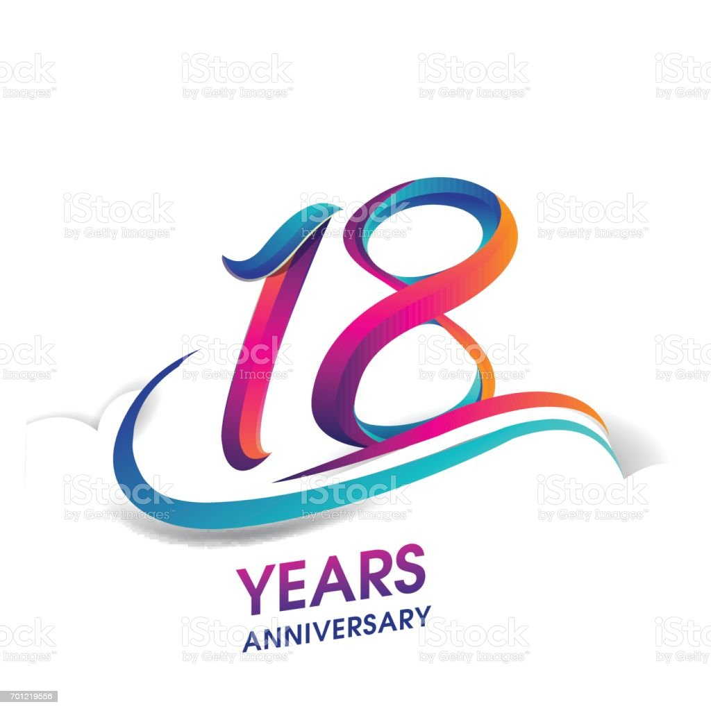 18 years anniversary celebration logotype blue and red colored. vector art illustration