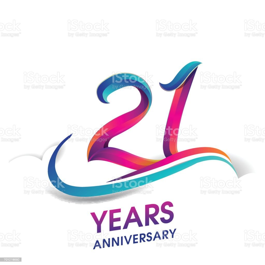 21 years anniversary celebration logotype blue and red colored. vector art illustration