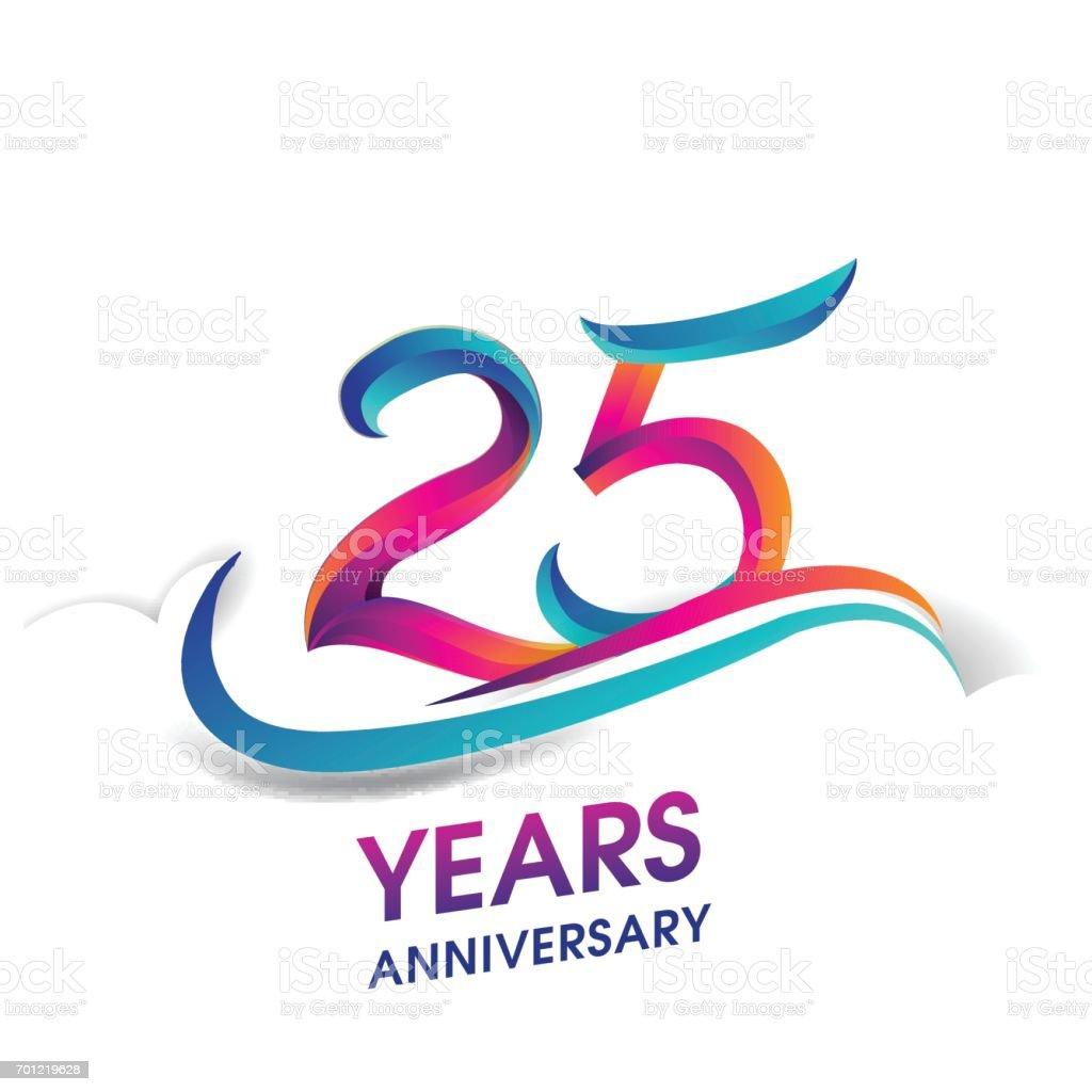 25 Jahre Jubiläum Feier Logo blau und rot gefärbt. – Vektorgrafik