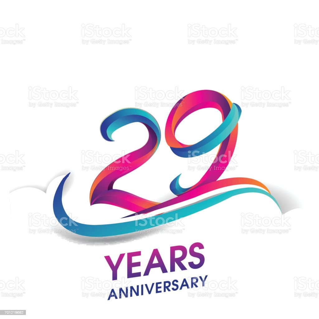 29 years anniversary celebration logotype blue and red colored. vector art illustration
