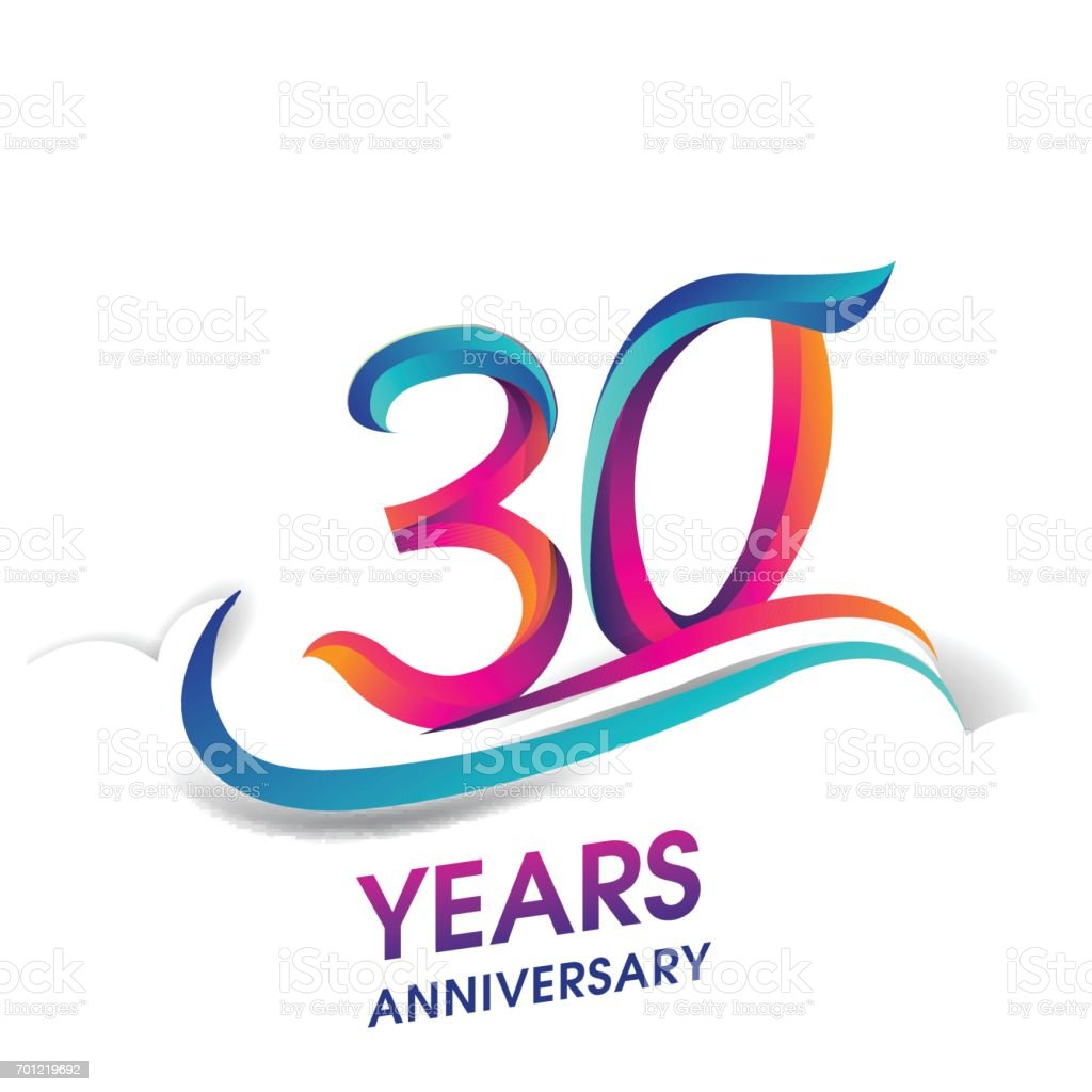 30 years anniversary celebration logotype blue and red colored. vector art illustration