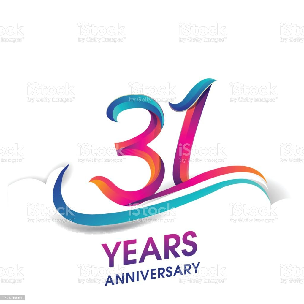 31 years anniversary celebration logotype blue and red colored. vector art illustration