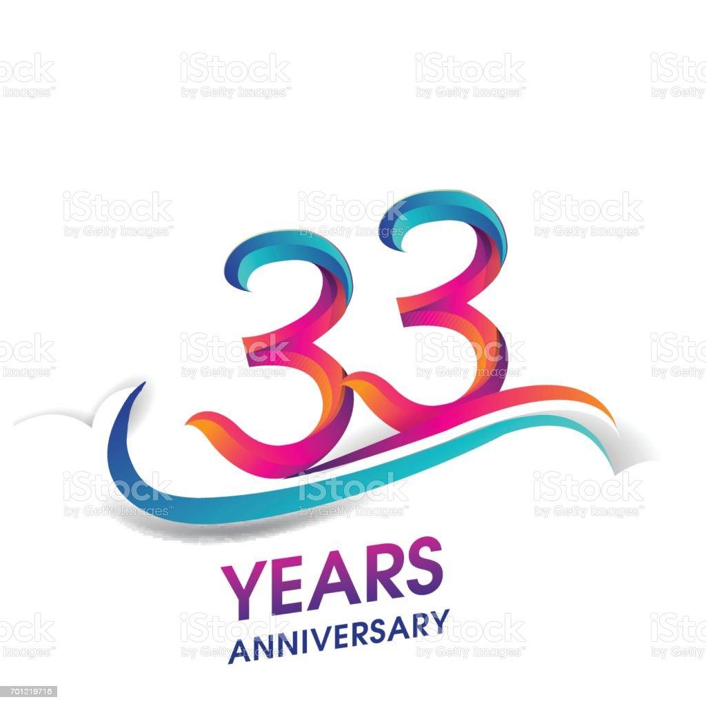 33 Jaar Verjaardag Viering Logo Blauw En Rood Gekleurd