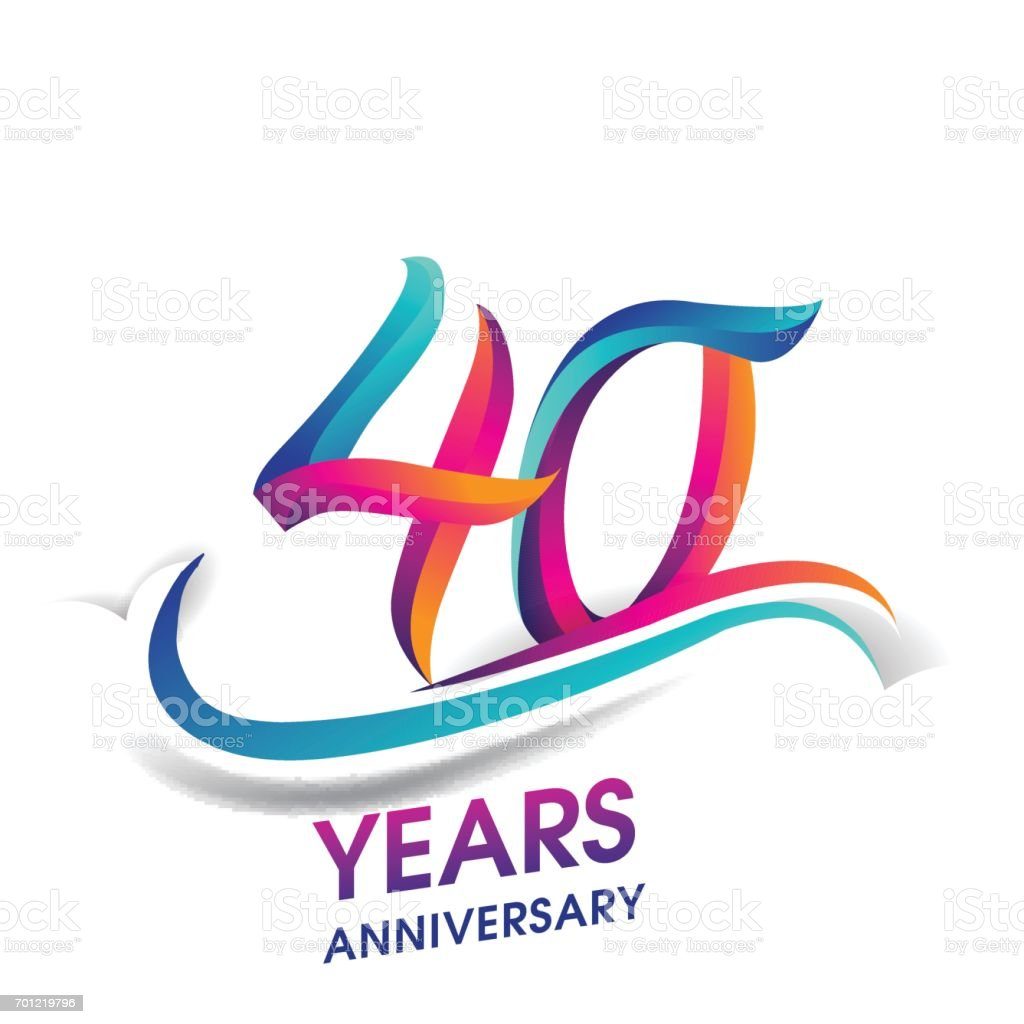 40 years anniversary celebration logotype blue and red colored. vector art illustration