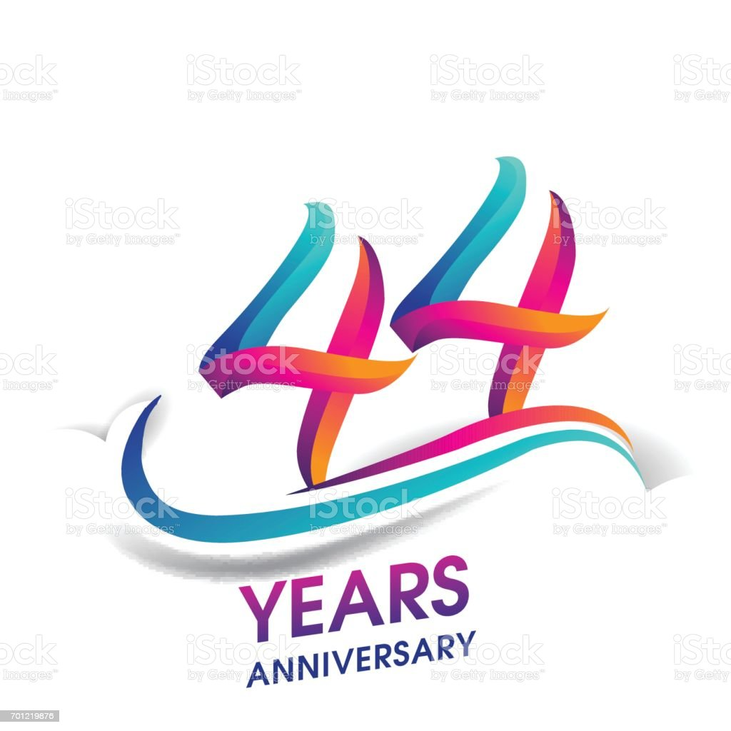 44 years anniversary celebration logotype blue and red colored 44 years anniversary celebration logotype blue and red colored royalty free 44 years anniversary biocorpaavc Gallery