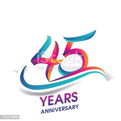 istock 45 years anniversary celebration logotype blue and red colored. 701219900