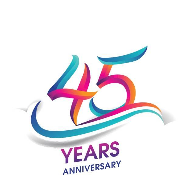 45 anos aniversário comemoração logotipo azul e vermelho colorido. - ilustração de arte em vetor