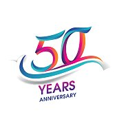 50 years anniversary celebration logotype blue and red colored.