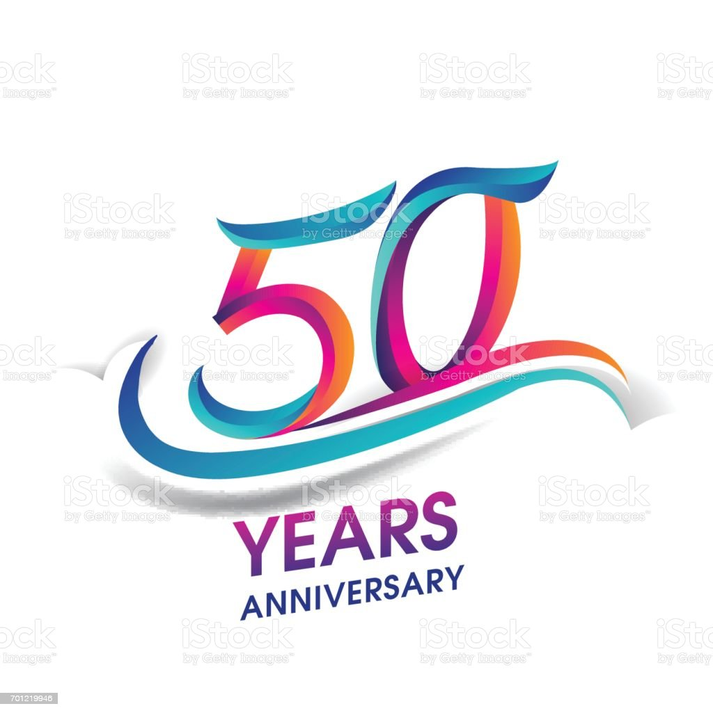 50 years anniversary celebration logotype blue and red colored. vector art illustration