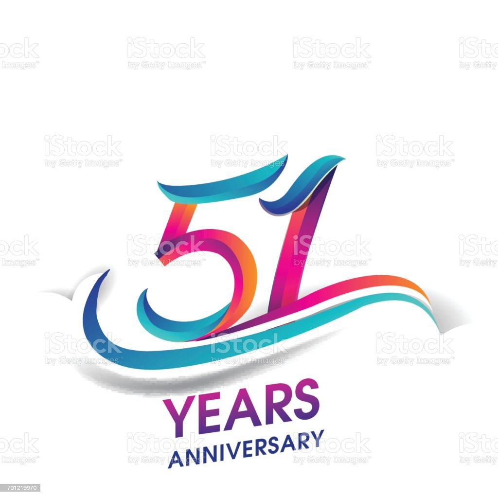 51 years anniversary celebration logotype blue and red colored. vector art illustration