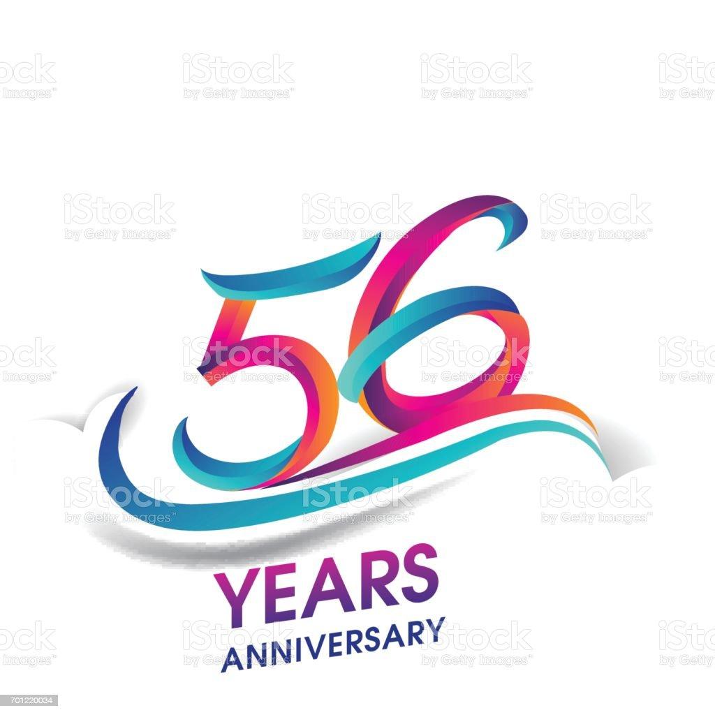 Verjaardag 56.56 Jaar Verjaardag Viering Logo Blauw En Rood Gekleurd