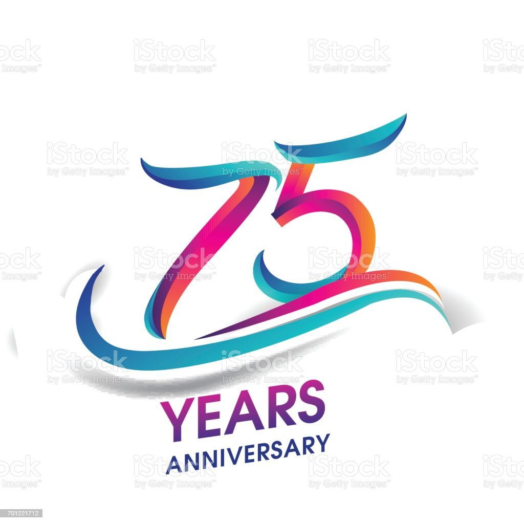 75 years anniversary celebration logotype blue and red colored. vector art illustration